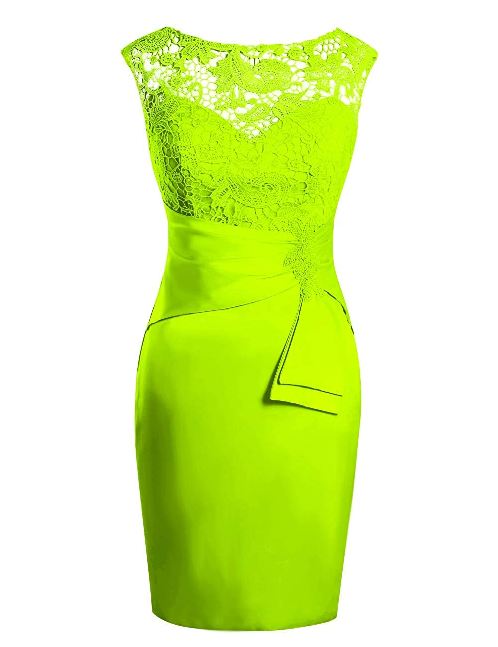 Lime Green MorySong Women's Hollow Out Lace Beading Knee Length Mother of The Bride Dress