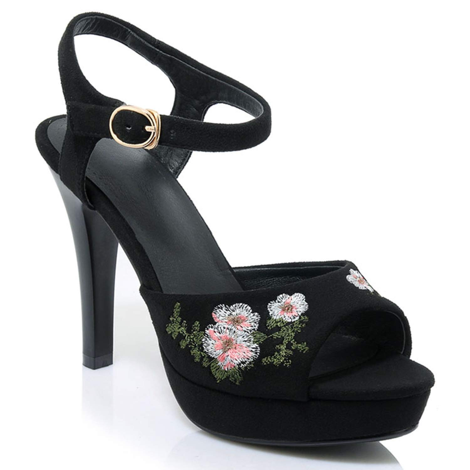 Suede Black Summer Toe Buckle Strap Comfortable High Heels Embroidered Sandals