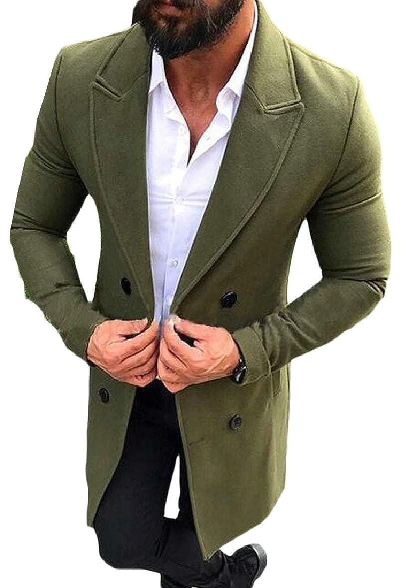 1 Smeiling-CA Men's Trench Coat Wool Blend Slim Slim Slim Jacket Double Breasted Top Coat 1367a4