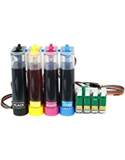 Ciss Continous Ink System Ciss Refill kit Set of High Empty Refillable Quality Non OEM Ink Cartridges Auto Reset Level for Epson Expression Home XP Printers Xp352 XP452 XP235 PX335 XP455
