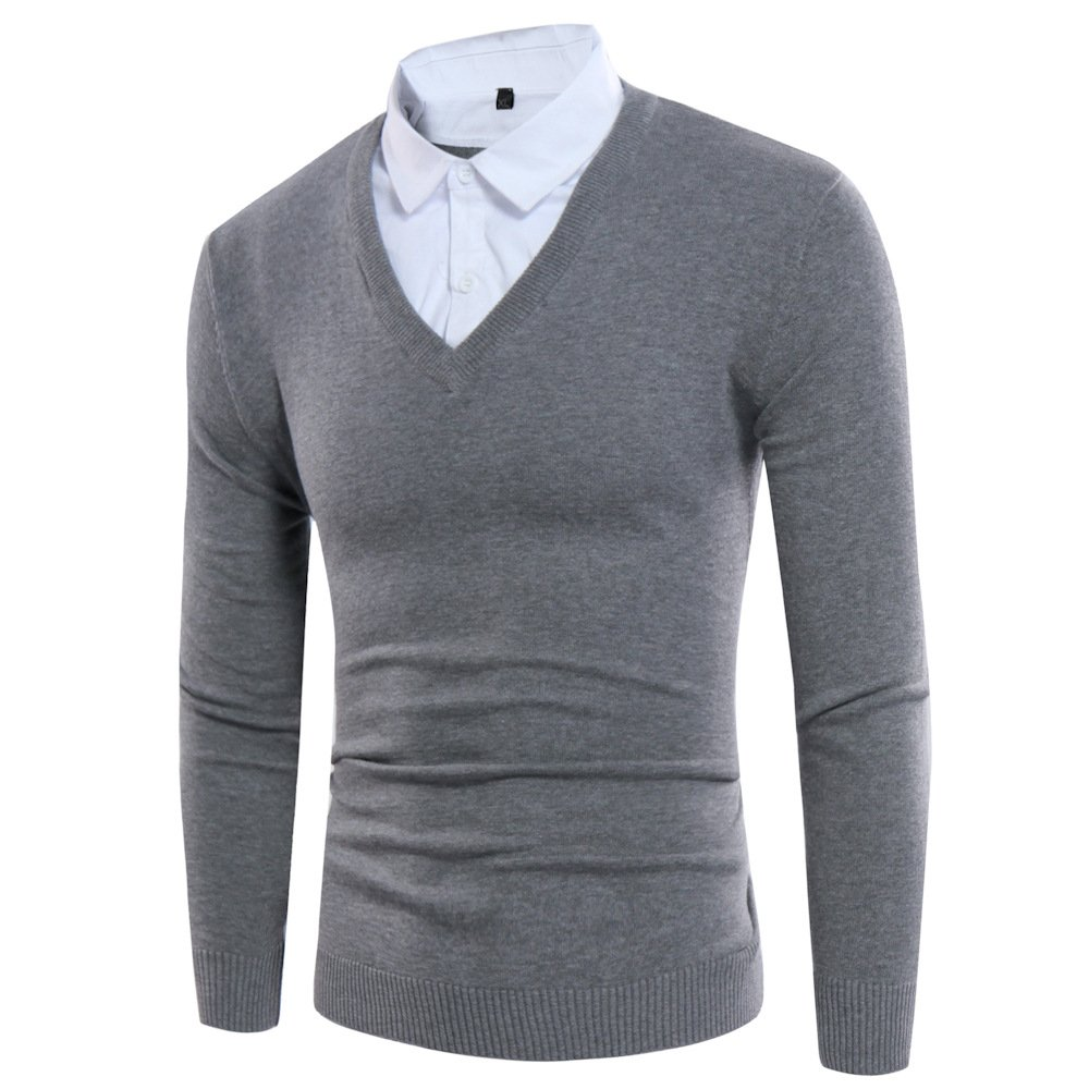 Jdfosvm Slim langärmelige Pullover Pullover, Zwei männer wurden kursverfall Herbst Jugend Slim langärmelige Pullover,Grau,M
