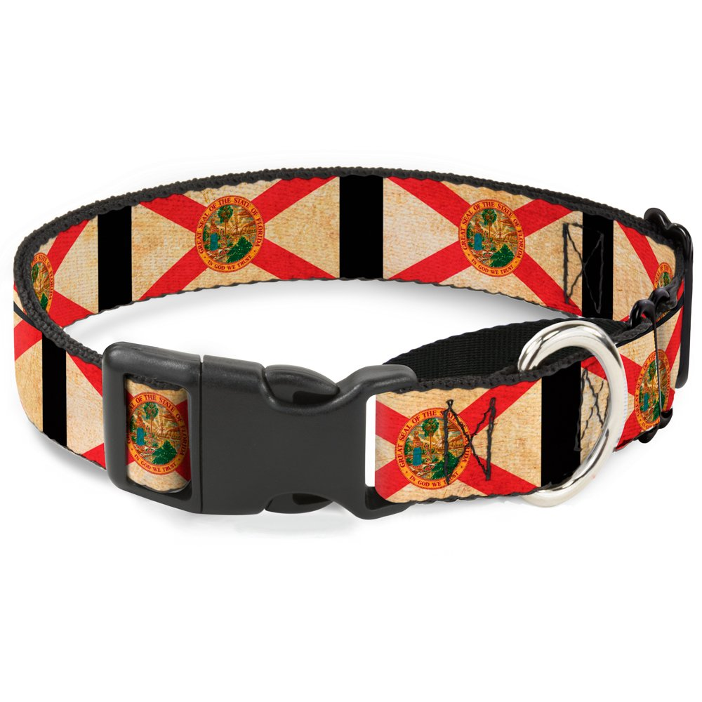 Buckle-Down Florida Flags Black Martingale Dog Collar, 1  Wide-Fits 15-26  Neck-Large
