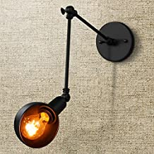 Fuloon Vintage Retro Industrial Style Wrought Iron Long Arm Pole Wall Lamp Swing Arm Wall Mount Light Sconces (bulbs not included) (Black)