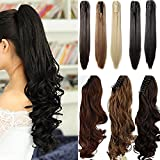 18 inches Natural Black Long Wave Claw Clip on Ponytail Hair Extensions Hairpiece Pony Tail Extension
