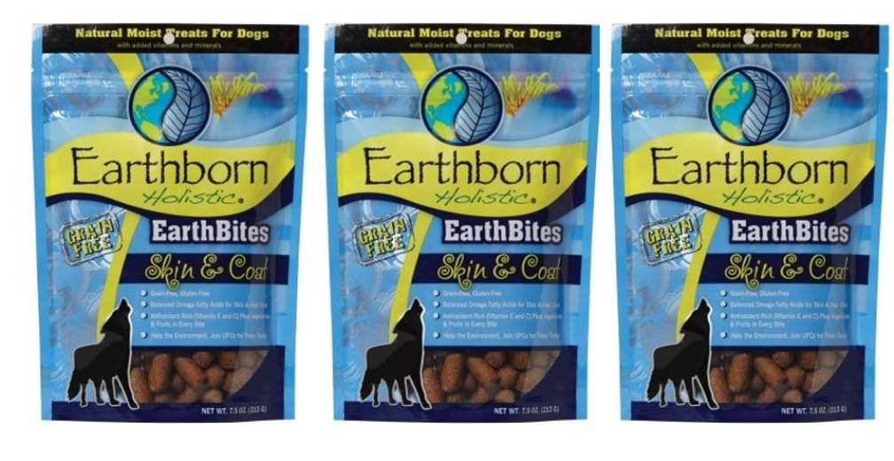 Earthborn Holistic EarthBites Grain -Free Glutin -Free Natural Moist Dog Trects Skin * Coat Formula, 7.5 Oz. Ea.Confezione di 3