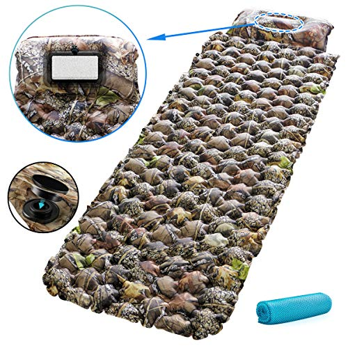 Houselog Sleeping Pad,Camping Mat,Camping pad,Camping Mattress for Outdoor&Indoor Office Car with Inflatable Pillow Button Stitching for Easier to Press and Inflate