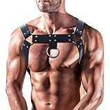 LISBLIER Men's Leather Body Chest Half Harness Belt Punk Adjustable PU Leather Belt High Elastic