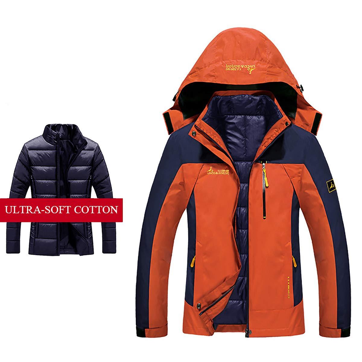orange Women's Thicken Down Jacket, 3in1 Detachable Lined Mountaineering Sportswear Hooded Windproof Waterproof Warm Outdoor Jacket,Black,M