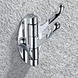 KES Wall Mounted Swing Arm Triple Coat and Hat Hook Solid Metal, Chrome