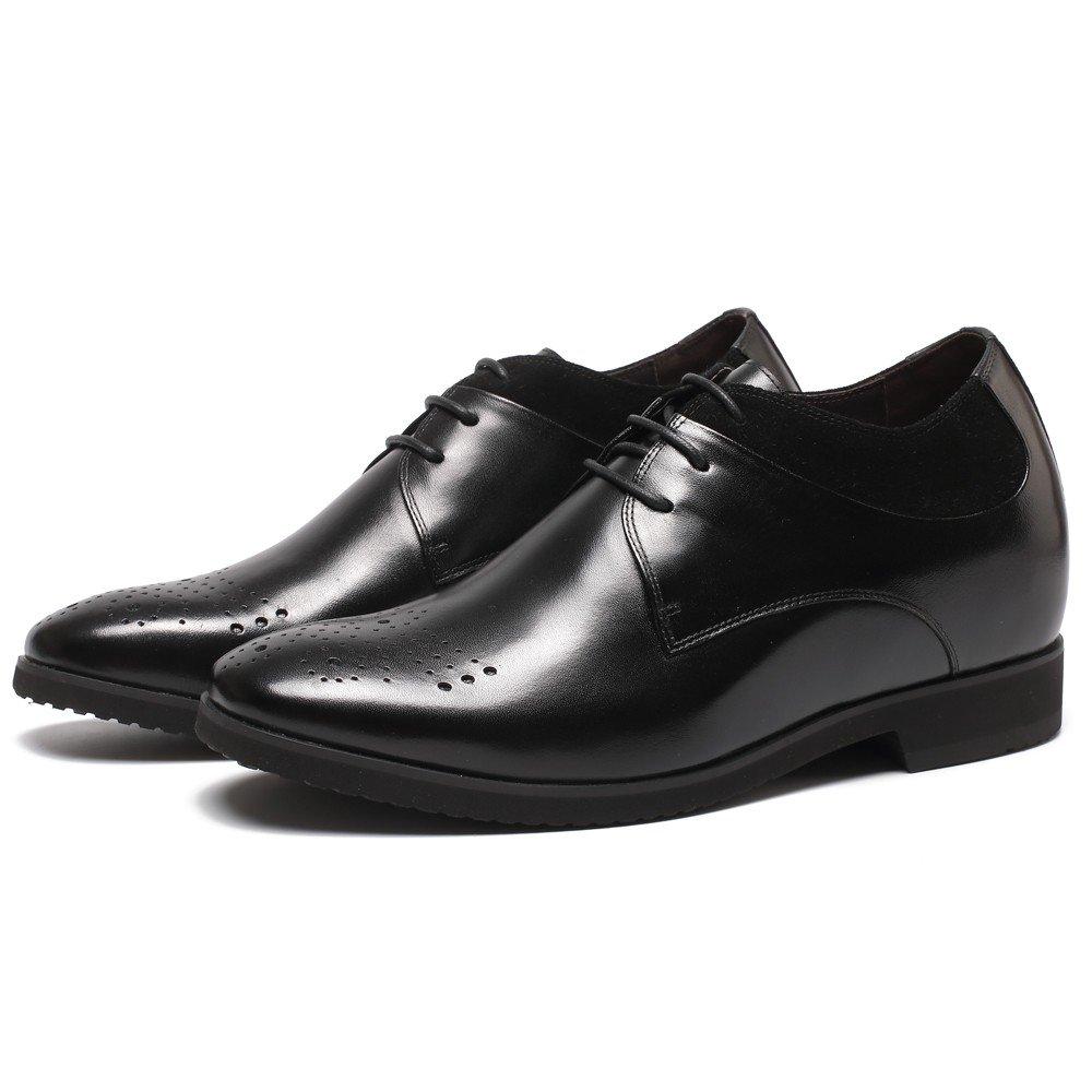 CHAMARIPA Aufzug Männer Höhe erhöhen Arbeit Leder Oxford Schuhe Business Arbeit erhöhen Büro Hochzeit Schnürschuhe-Unsichtbare Ferse 10cm -H71X71V011D Schwarz 8afac8