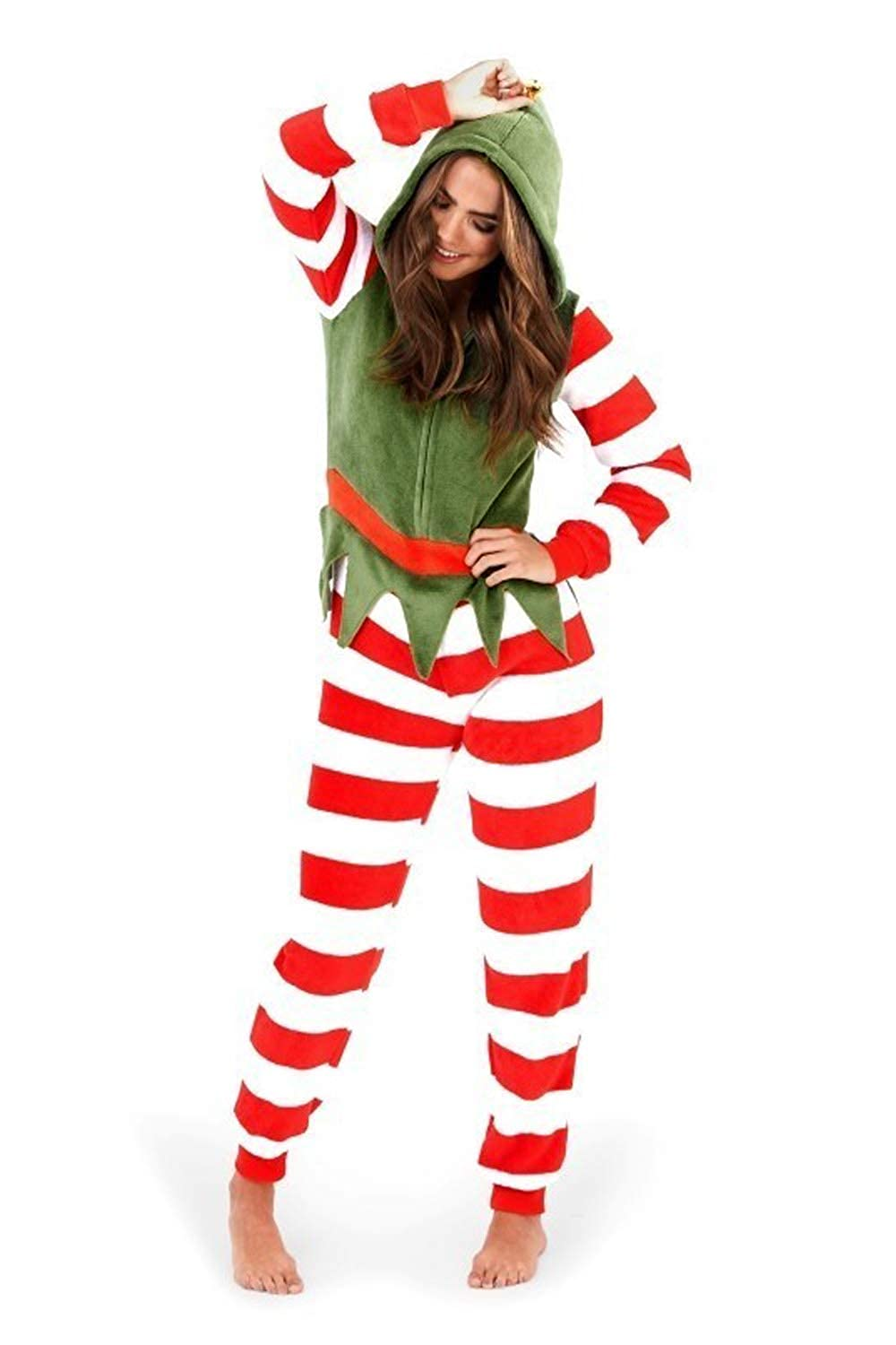 Ladies Womens Elf Jumpsuit Fancy Dress Funny Comfy Nightwear Christmas Armona