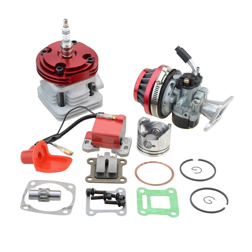 GOOFIT 44mm Cylinder Carburetor Air Filter Ignition Coil Set Big Bore 53cc 54cc Top Kit of Piston for 47cc 49cc 2-Stroke Engine Pocket Bike Atv Quad Motocyle Red