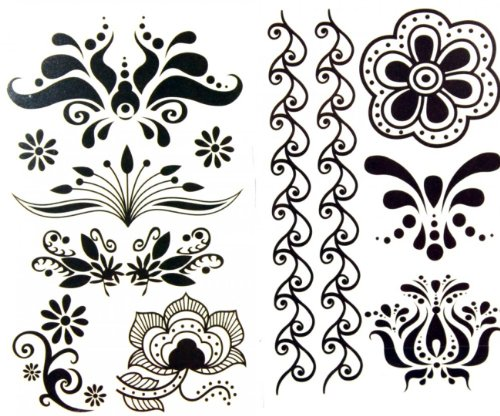SPESTYLE waterproof non-toxic temporary tattoo stickerslatest new release 1 package with 2pcs waterproof black flower and vine temporary tattoos