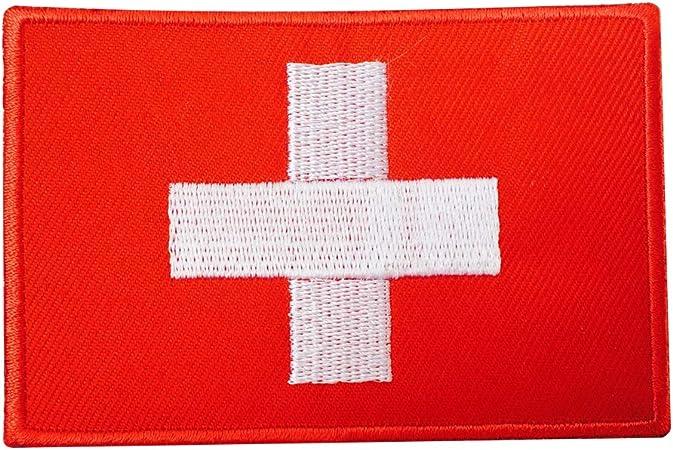 Parche bordado de la bandera de Suiza con la insignia de Imperio Real, para coser o aplicar con plancha: Amazon.es: Hogar