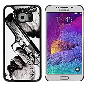 Impact Case Cover with Art Pattern Designs FOR Samsung Galaxy S6 EDGE Veritas Gun Truth Slogan Quote Man Hands Betty shop
