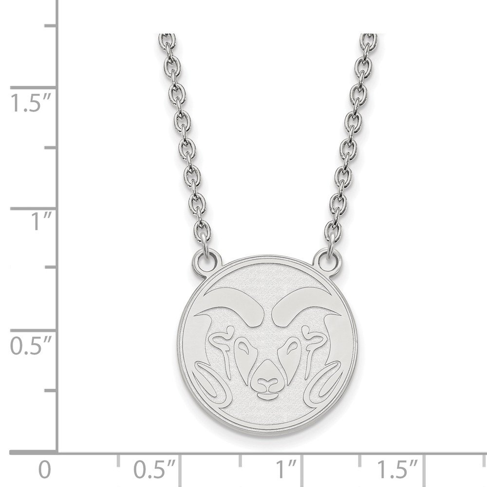 Mia Diamonds 925 Sterling Silver LogoArt Colorado State University Large Pendant with Necklace