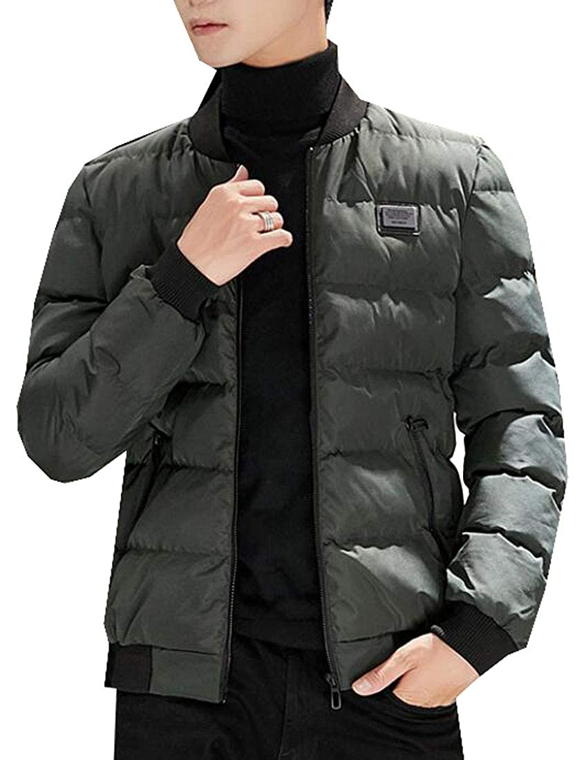 Suncolor8 Men Casual Zip Front Thick Baseball Coat Down Quilted Coat Jacket Outwear