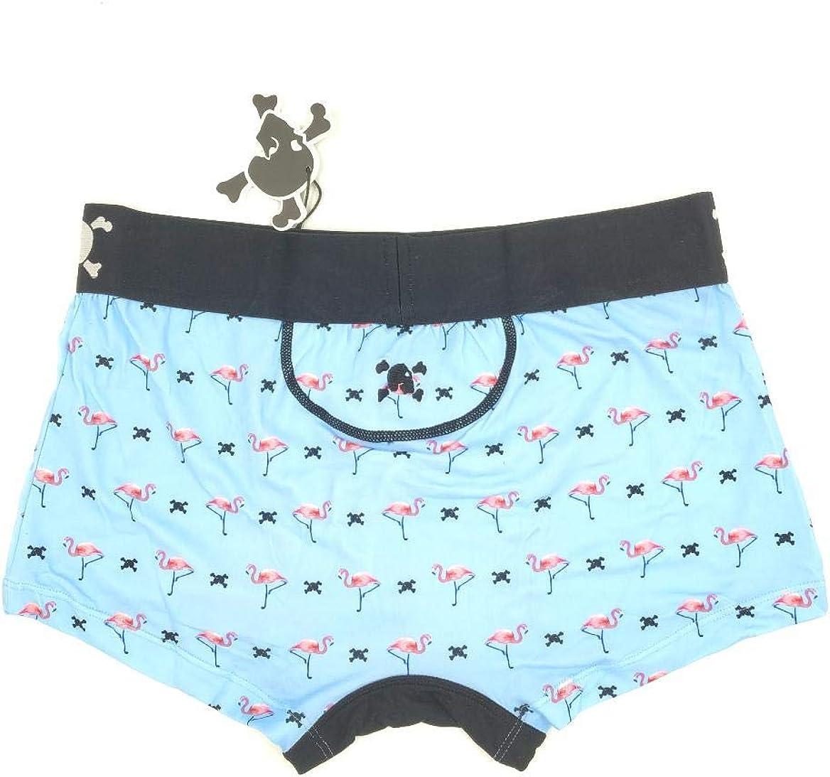 Skull and Bones Classic Fashion Trunk Underwear Blue Flamingo Print SB02