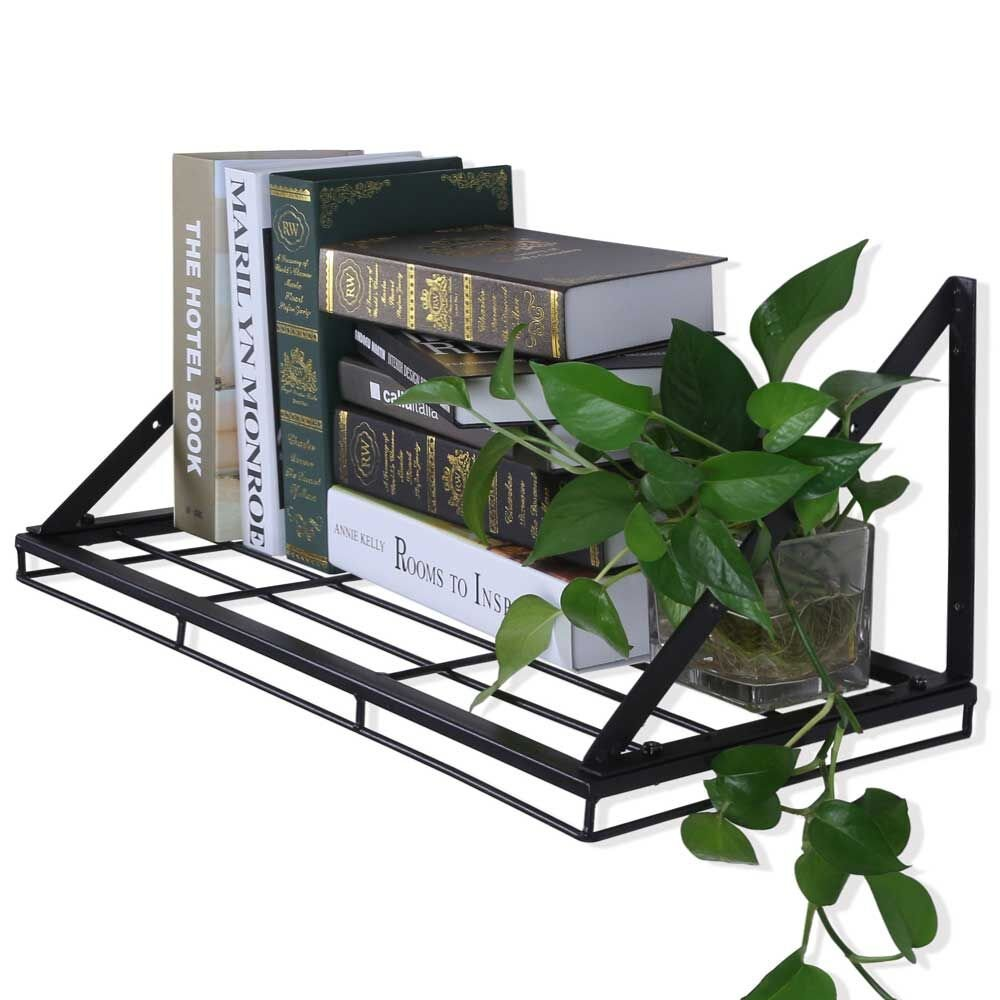 Oropy Wall Mounted Pot Rack Storage Shelf with 2 Tier Hanging Rails 12 S Hooks included, Ideal for Pans, Utensils, Books, Plant Black by OROPY (Image #3)