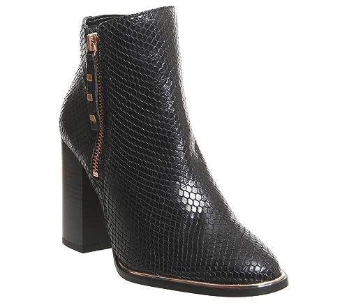 Office Affluent- Cupped Heel Side Zip Boot Black Snake Rose Gold Hardware -  7 UK d07dae12a240