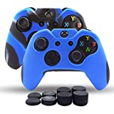 Xbox One Controller Skin, Silicone Grips Pack 2 for Xbox One X/One Slim Controller Cover Dual Thicker Anti Slip Grip Case Protector - 8pcs Pro Thumb Grips-CamoBlue,Blue