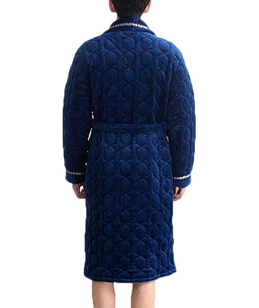 ZJEXJJ Los Vestidos dealgodón del Invierno de los Hombres Espesan los Pijamas Calientes (Color : Azul, Tamaño : L): Amazon.es: Jardín