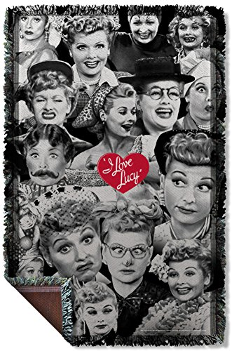 I Love Lucy - Faces Woven Throw Throw Blanket 35 x 57in