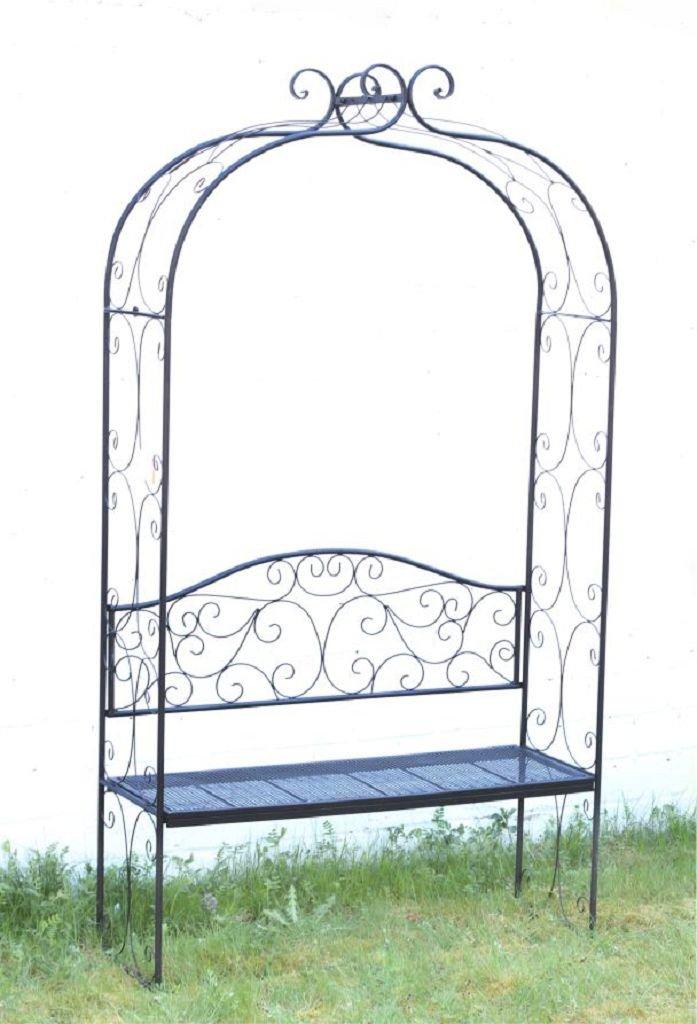 Rosenbogen mit Sitzbank aus Metall, Rankhilfe 55491