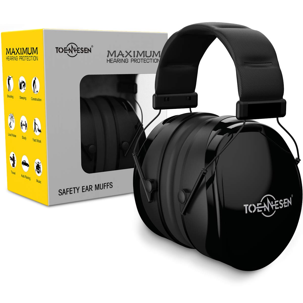 Noise Reduction Ear Muffs, Safety Earmuffs Hearing Protection Fits Adults and Kids - TOENNESEN 36dB NRR Ear Defenders for Shooting/Hunting/Working/Lawn Mowing/Loud Events (Black)