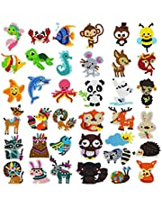 Yolyoo 37PCS Diamond Painting Stickers for Kids DIY 5D Diamond Animal Mosaic Stickers Art Craft Painting by Number Kits for Adult Beginners