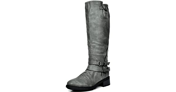 cfd8fc604336 DREAM PAIRS Women s Atlanta Grey Fur Lined Knee High Riding Boots Wide Calf  Size 9 M US