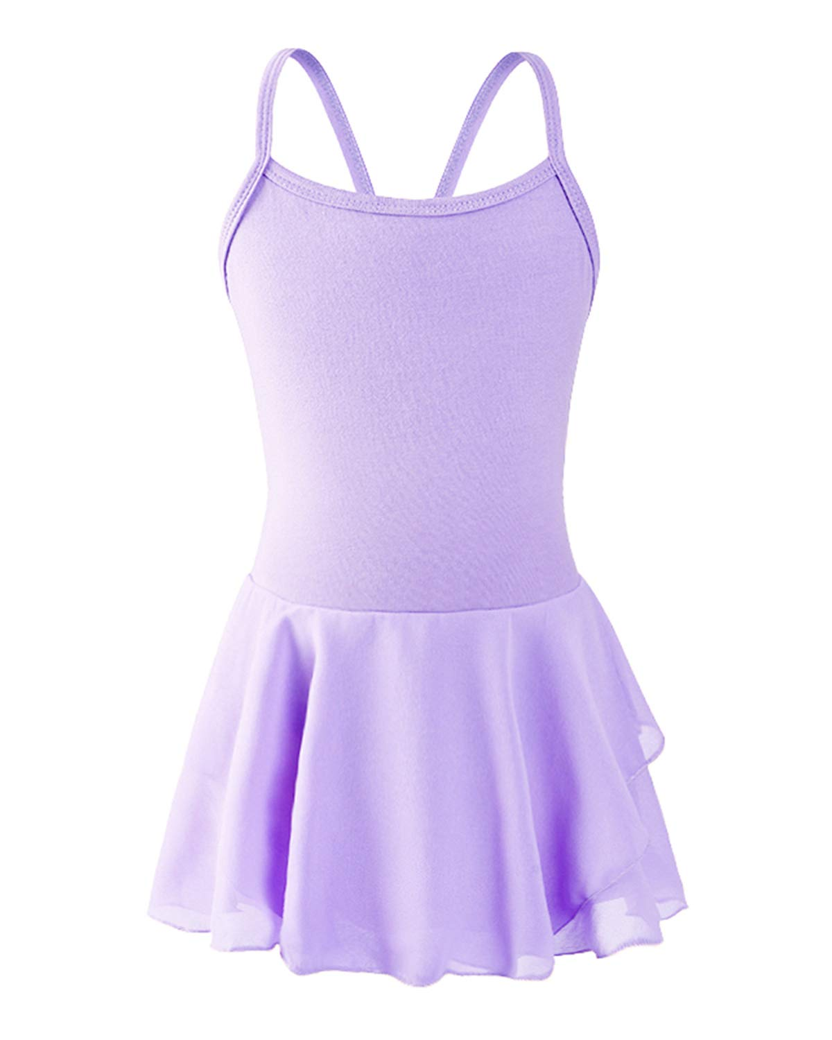 STELLE Girls Cotton Camisole Dress Leotard for Dance, Ballet (Purple, S) by STELLE