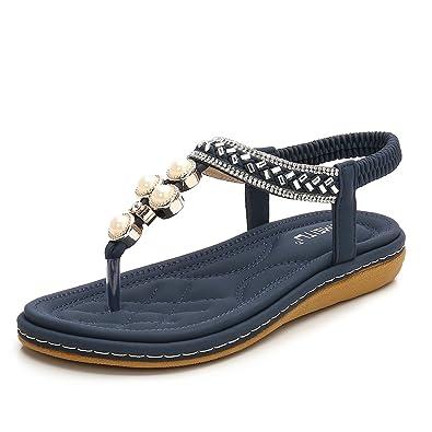 834b0601c2bc Meeshine Womens Flat Sandals Summer Rhinestone Bohemian Flip Flop Shoes  Blue-06 US 5.5