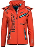 Geographical Norway Damen Softshell Outdoor Jacke Romantic Turbo-Dry abnehmbare Kapuze