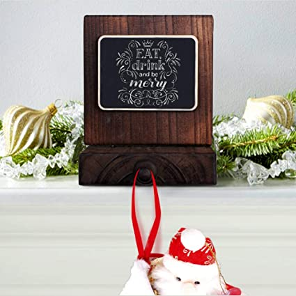 Amazing Ourwarm Diy Chalkboard Christmas Stocking Hanger Rustic Wood Stocking Holders For Fireplace Mantle Free Standing Christmas Decorations Home Interior And Landscaping Pimpapssignezvosmurscom