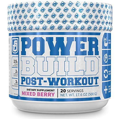 POWERBUILD Clinically-Dosed Post Workout Recovery Muscle Building Supplement – Boost Muscle Growth, Recovery, Strength – Creatine, Glutamine, 5 More Powerful Ingredients – Mixed Berry Blast 17.6 oz