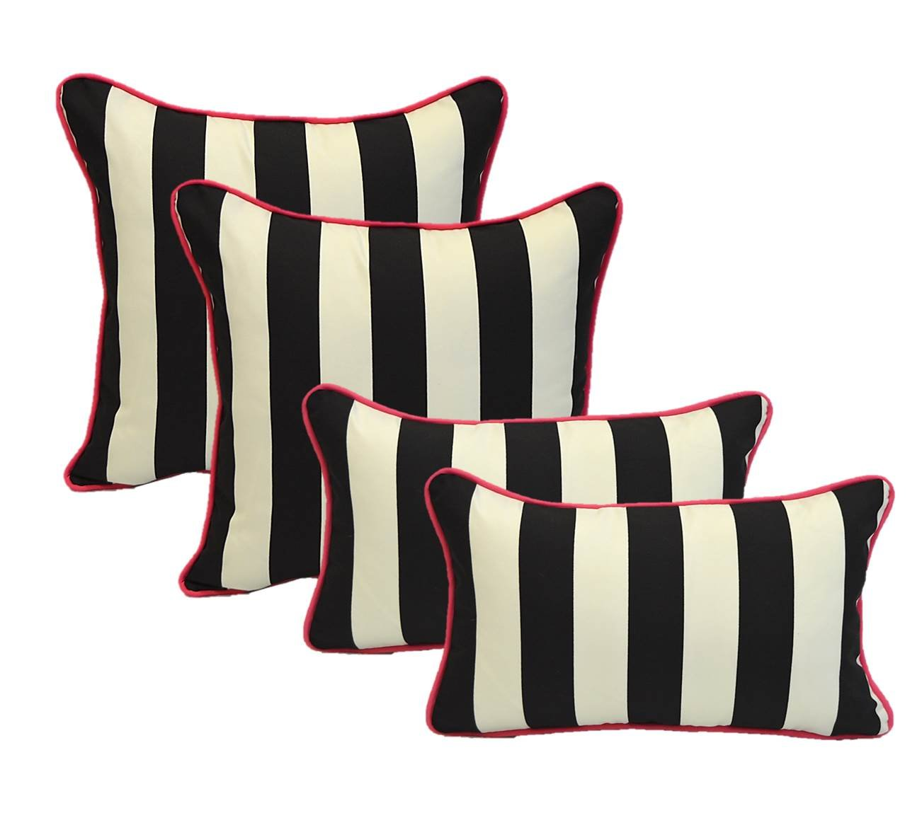 Set of 4 - Indoor / Outdoor 17'' Square & Rectangle / Lumbar Decorative Throw / Toss Pillows - Black and White Stripe w/ Hot Pink Piping / Cording - Zipper Cover & Insert