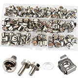 Cage Nut And Screw Washers Square Hole Metric Hardware For Rack Mount Server Shelves Cabinets Assortment Kit M6X16mm ,50Set