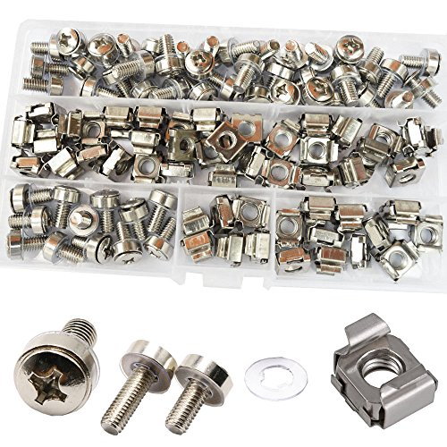 Cage Nut And Mounting Screw Bolts Washers Metric Square Hole Hardware For Rack Mount Server Shelves Cabinets Assortment Kit M6X16mm ,50Set (Rackmount Hardware)