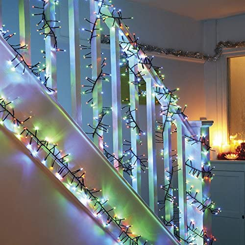 WED 200 LED Twinkle Lights,Christmas Cluster Lights 11.5 Foot with Multi Color Lights with 8 Twinkle Function for Christmas Decor Trees Parties Bedroom