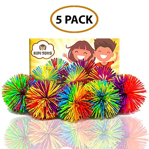 Fun Toy Stringy Balls Game Set of 5 Bundle Gift Box Bulk Relief Relax Fidget Play Squeeze Sensory Rainbow Splat Ball Monkey Toy Pom Pom Stress Ball Games for Kids Children Adults Office and Home ()