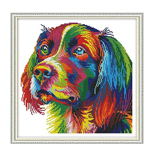 Cross Stitch Stamped Kit Quilt Pre-Printed Cross-Stitching Patterns for Beginner Kids & Adults- Embroidery Needlepoint Starter Kits,Rainbow Dog (Cross Stitch Printed)