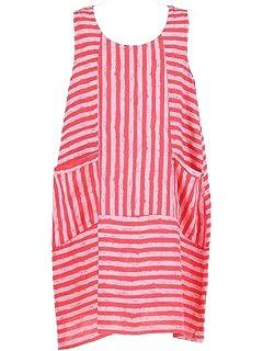 c39abd7310 New Ladies Italian Stripy Linen Sleeveless Dress Women Lagenlook Dress Plus  Size