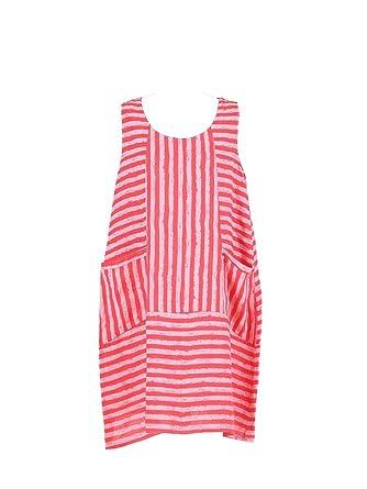 78454af4355 New Ladies Italian Stripy Linen Sleeveless Dress Women Lagenlook Dress Plus  Size (coral)  Amazon.co.uk  Clothing