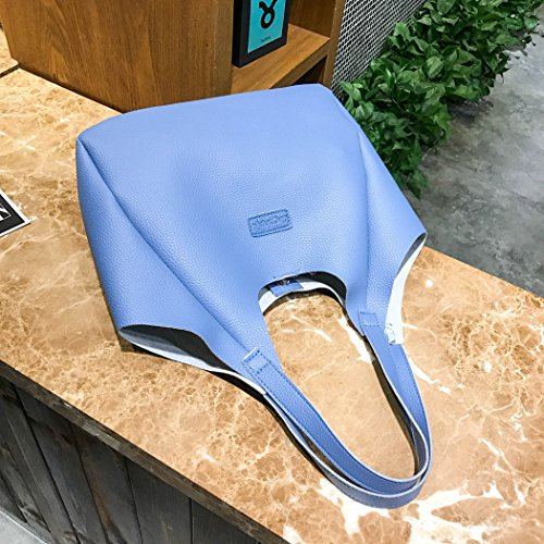 Women Girls FUNOC Large Bags Handbag 4Pcs Card Bags Wallet Tassel Bag Set Crossbody Fashion Shoulder Blue dCxxTXgwq