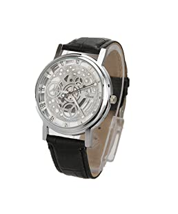 GREFER Sport Wrist Watches for Men Unique Stainless Steel Analog-Quartz Military Leather Band Dial (K)