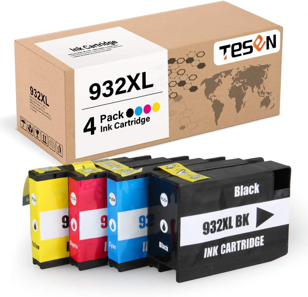 TESEN Compatible 932 XL 933 XL Ink Cartridge Replacement for HP 932XL 933XL 932 933 Combo Pack for HP Office Jet 6700 6600 6100 7610 7110 7612 7610 7510 Printer (4 Pack, Black Cyan Magenta Yellow)