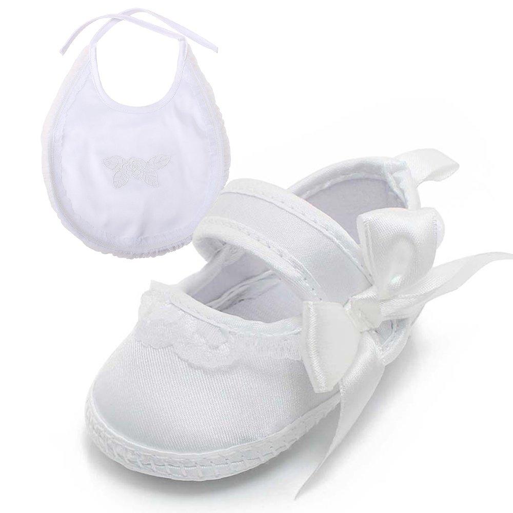 DELEBAO Baby Girls Christening Baptism Toddler Shoes Dance Ballerina Slipper with Bow Ribbon