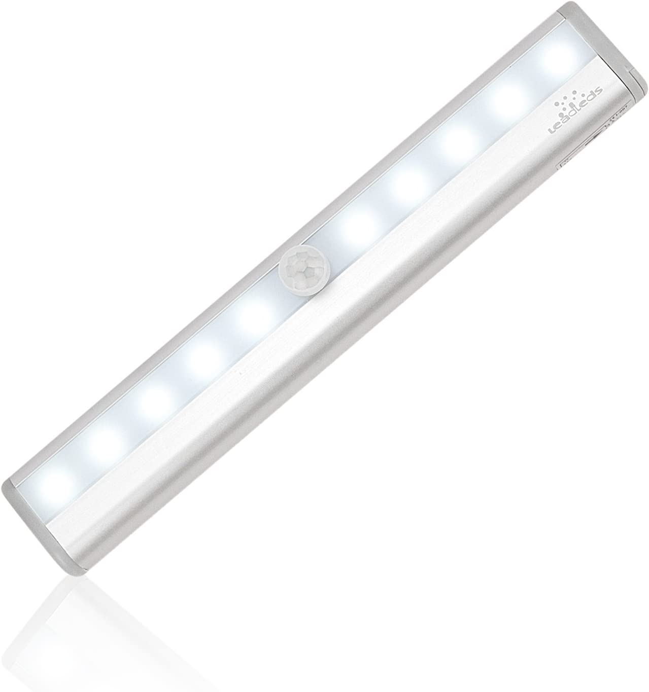 Leadleds I-007 10-LED Wireless Motion Sensor Light Automatic with Magnetic Strip, Battery Operated, Portable for Closet, Door, Stairs Light, Hallway, Step Lights