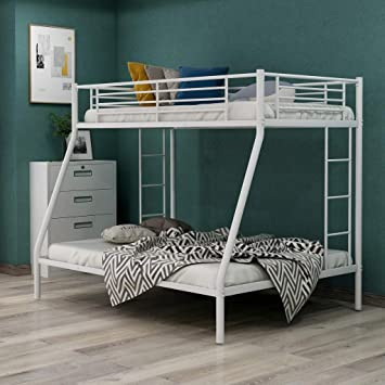 Amazon Com Metal Twin Over Full Bunk Beds Kids Bunk Beds Twin Over Full Size With Built In Ladders And Guard Rail White Bunk Bed Kitchen Dining